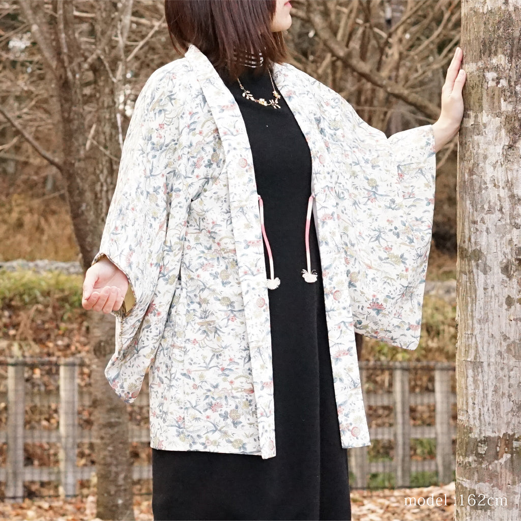 White haori with water paint touch flower design,Japanese kimono,womens haori