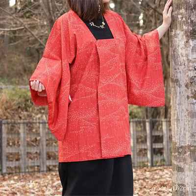 Autum leaf design red haori,Japanese vintage kimono, womens haori