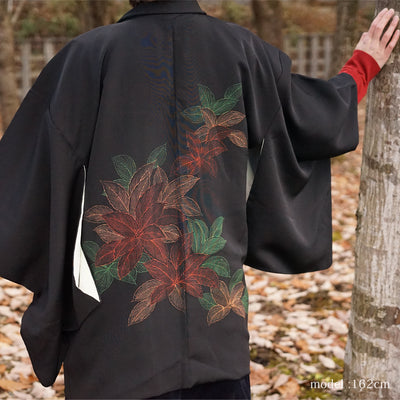 Black haori with beautiful leaf and flower paint design,Japanese kimono,womens haori