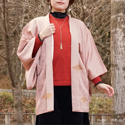 Pink haori with diamond design,Japanese vintage kimono,womens haori