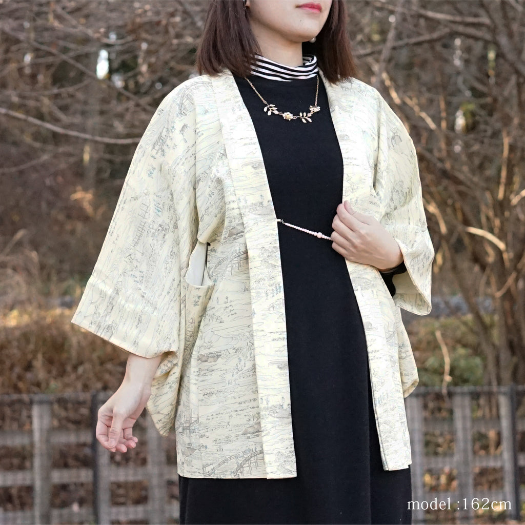 White-yellow japanese scene design haori,Japanese kimono,womens haori