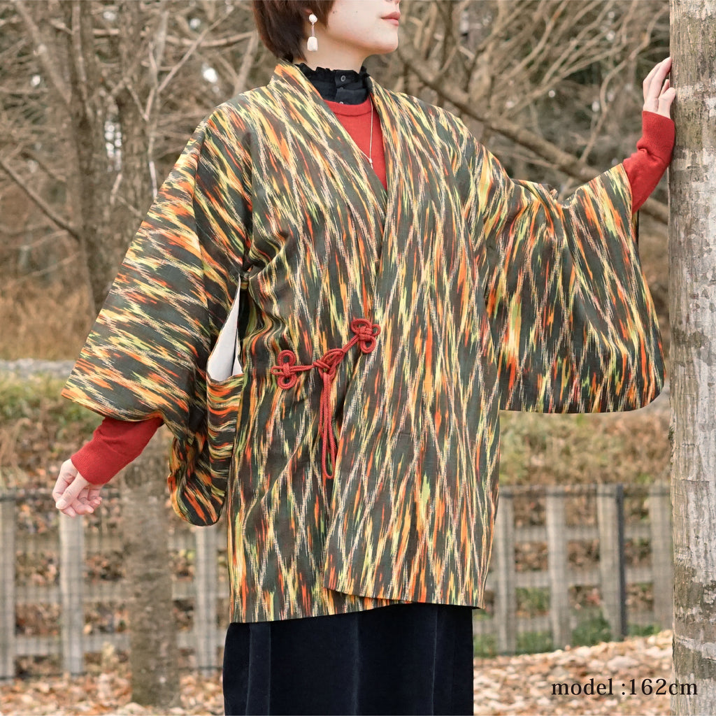 Orange -green colorful douchugi,Japanese kimono,womens haori