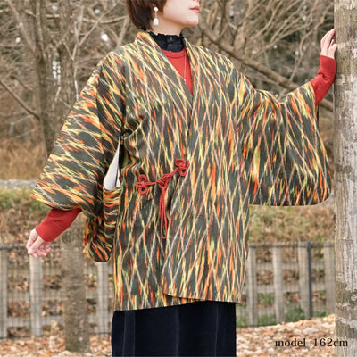 Orange green colorful douchugi,Japanese vintage kimono,womens haori Kimetsu no yaiba