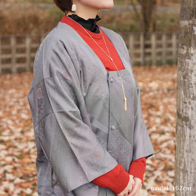 Gray gradation color flower design michiyuki,Japanese vintage kimono,womens, female Kimetsu no yaiba