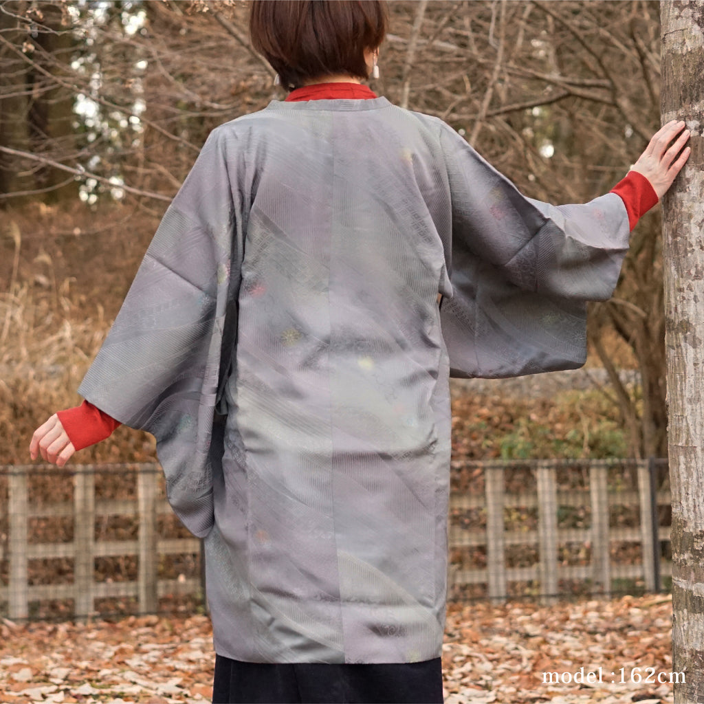 Gray gradation color flower design michiyuki,Japanese kimono,womens haori