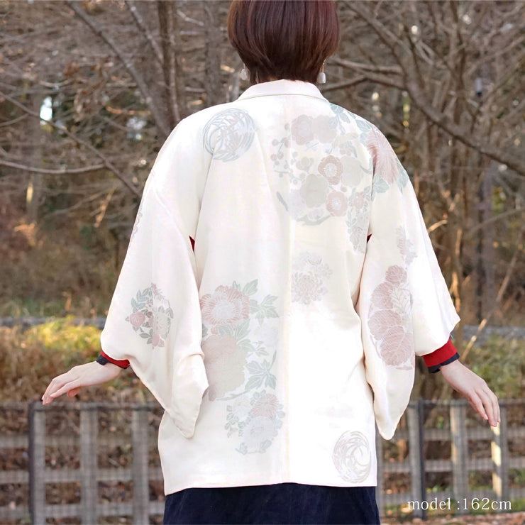 White haori with beautiful flower design,Japanese vintage kimono,womens haori kimetsu no yaiba samurai