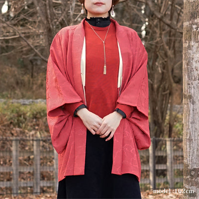 Red haori with silver one point crest,Japanese vintage kimono,womens haori kimetsu no yaiba samurai