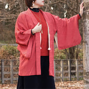 Red haori with silver one point crest,Japanese vintage kimono,womens haori