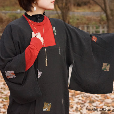 Black michiyuki with cute square pattern ,Japanese kimono,womens haori