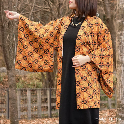 Orange modern flower pattern design,Japanese vintage kimono,womens haori Kimetsu no yaiba