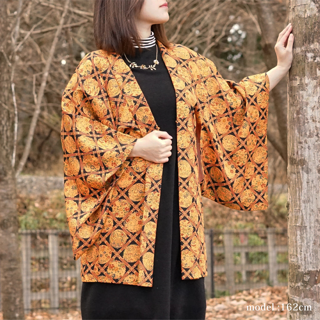 Orange modern flower pattern design,Japanese kimono,womens haori