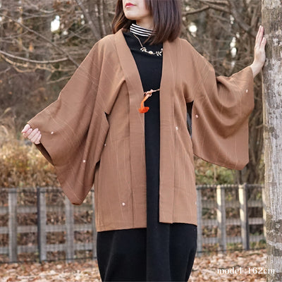 Light brown haori with shibori polka dot design,Japanese vintage kimono,womens haori Kimetsu no yaiba