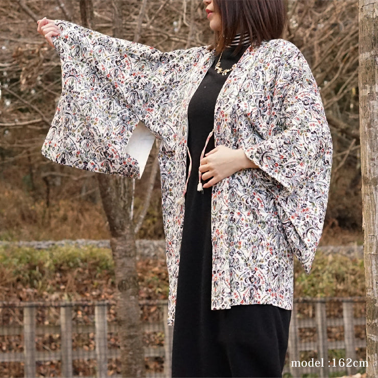 Flower and modern pattern white haori ,Japanese vintage kimono,womens haori