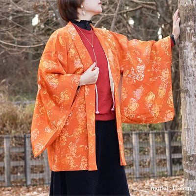 Orange flower design haori,Japanese vintage kimono,womens haori Kimetsu no yaiba