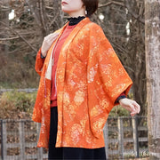 Orange flower design haori,Japanese vintage kimono,womens haori