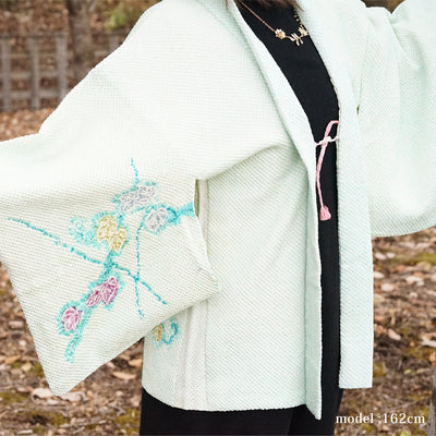 Light green flower design haori,Japanese vintage kimono,Japanese kimono,womens haori Kimetsu no yaiba