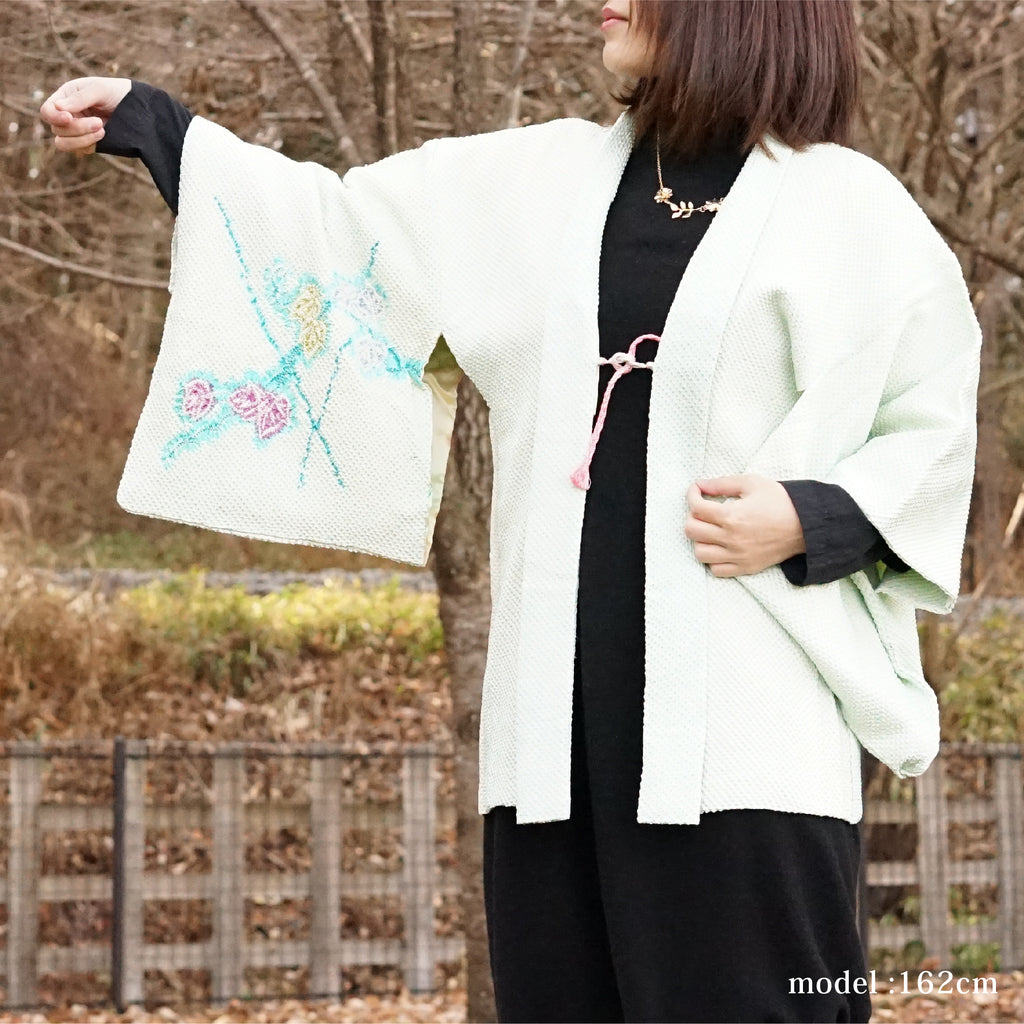 Light green flower design haori,Japanese kimono,Japanese kimono,womens haori