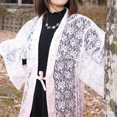 White and pink see-through lace haori,Japanese vintage kimono,womens haori