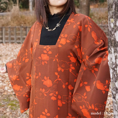 Japanese flowerplants design orange michiyuki ,Japanese vintage kimono,womens,female Kimetsu no yaiba