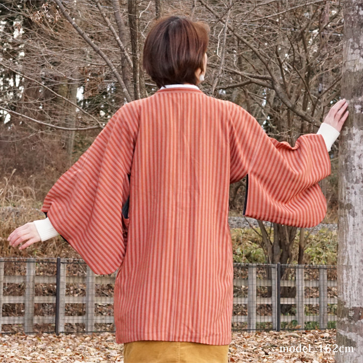 Red and pink stripe design michiyuki,Japanese vintage kimono,womens haori