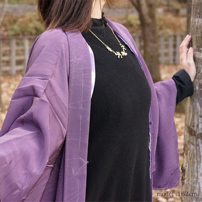 Feminine purple color haori ,Japanese vintage kimono,womens haori