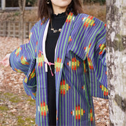 Green stripe and vivid design blue haori,Japanese vintage kimono,womens haori