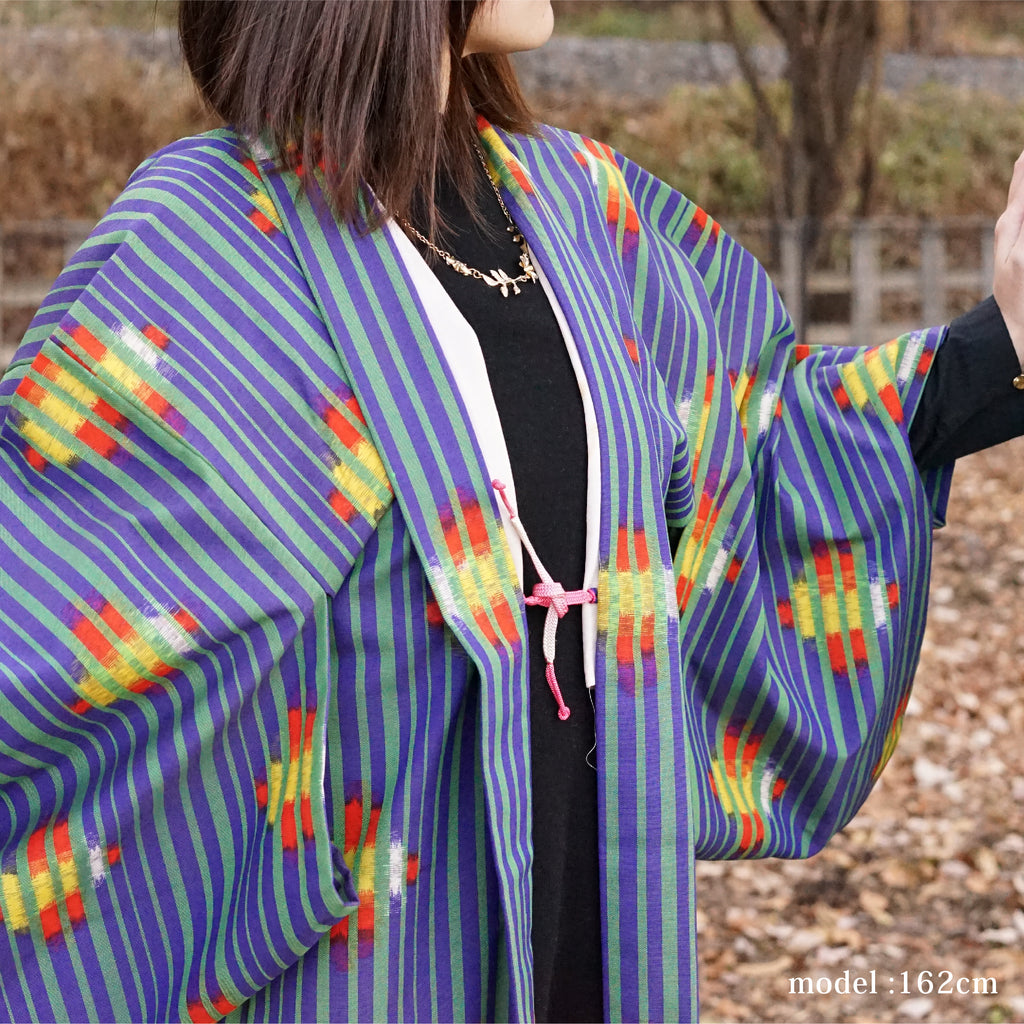 Green stripe and vivid design blue haori,Japanese kimono,womens haori