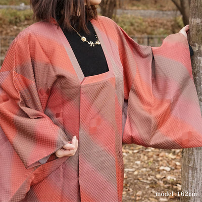 Pink and brown design michiyuki,Japanese vintage kimono,womens