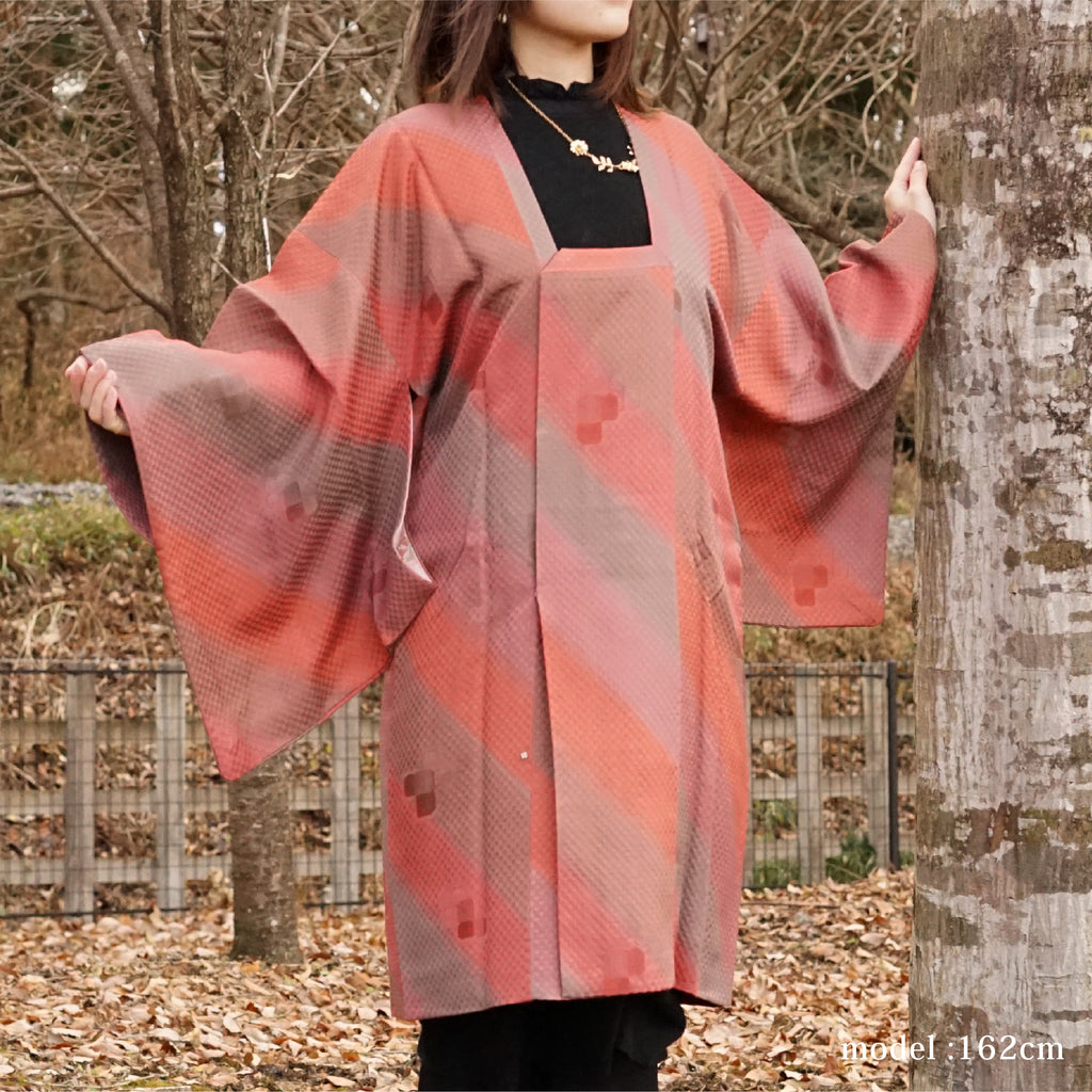 Pink and brown design Michiyuki,Japanese kimono,womens haori