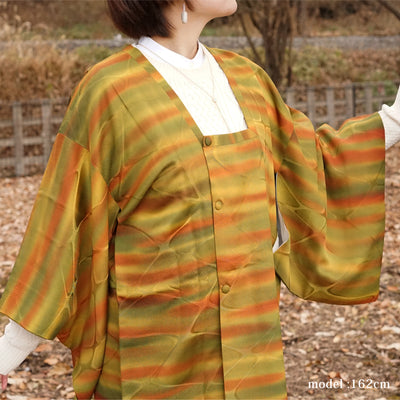 Yellow and green michiyuki with orange stripe,Japanese vintage kimono,womens haori kimetsu no yaiba samurai