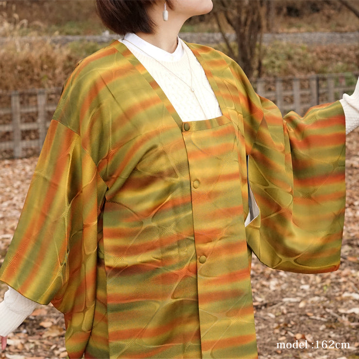 Yellow and green michiyuki with orange stripe,Japanese vintage kimono,womens haori