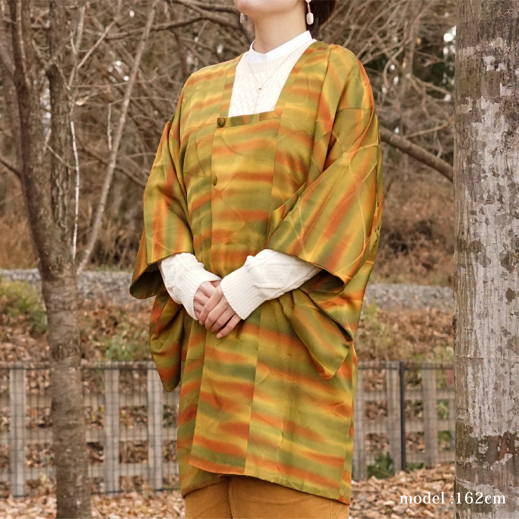 Yellow and green Michiyuki with orange stripe,Japanese kimono,womens haori