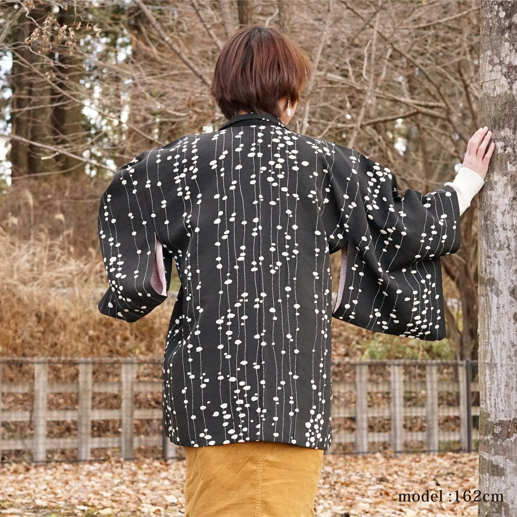 White line design black haori,Japanese kimono,womens haori