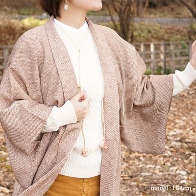Light brown cute haori,Japanese vintage kimono,womens haori Kimetsu no yaiba