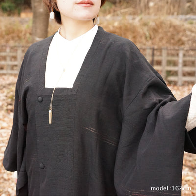 Embossed design black michiyuki,Japanese vintage kimono,womens, female