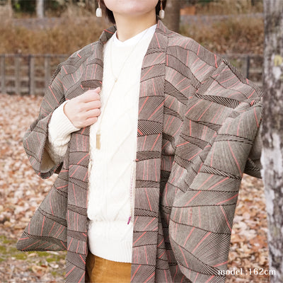 Light brown haori with pink line design,Japanese vintage kimono,womens haori Kimetsu no yaiba