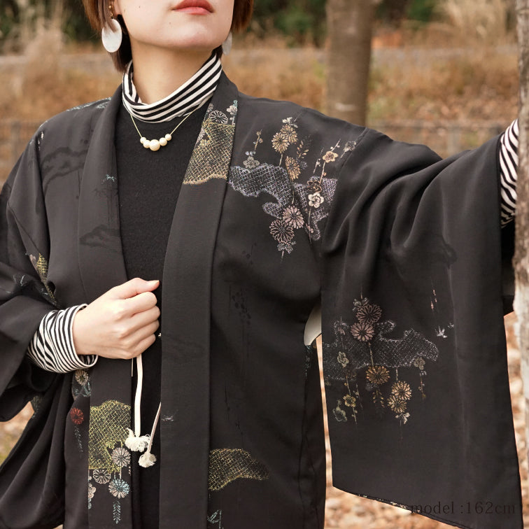 Beautiful japanese painting black haori,Japanese kimono,womens haori