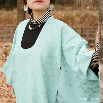 Beautiful light blue-green Michiyuki,Japanese vintage kimono,womens haori