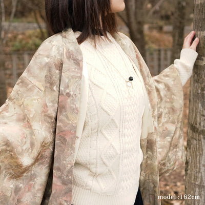 Light brown haori with beautiful pattern,Japanese vintage kimono,womens haori kimetsu no yaiba