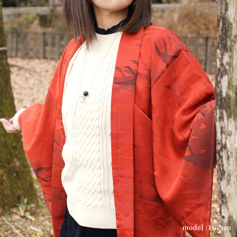 Vivid red-orange haor with japanese brush pattern,Japanese kimono,womens haori