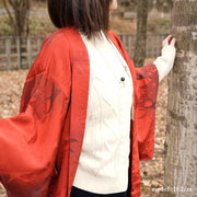 Vivid red orange haor with Japanese brush pattern,Japanese vintage kimono,womens haori kimetsu no yaiba samurai