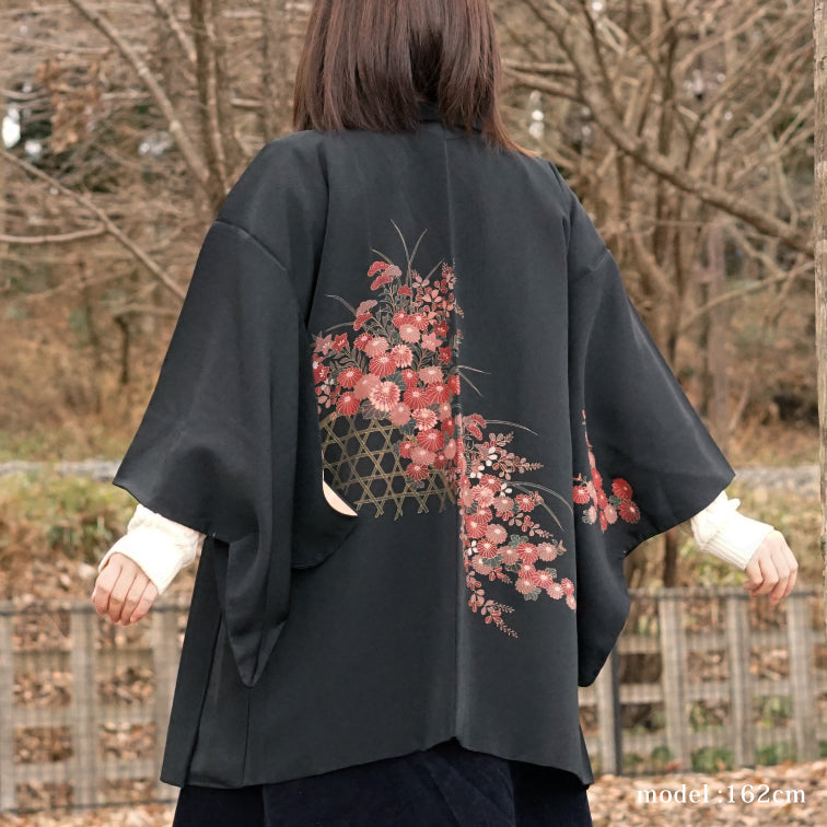 Black haori with beautiful flower painting,Japanese kimono,womens haori