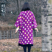 Cute purple haori with colorful polka dot,Japanese vintage kimono,womens haori
