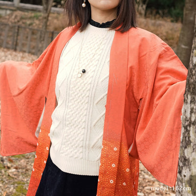 Orange haori with beautiful cut-out gradation,Japanese vintage kimono,womens haori Kimetsu no yaiba