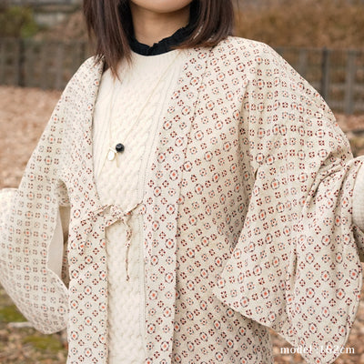 Milky white haori with modern cute red pattern,Japanese vintage kimono,womens haori Kimetsu no yaiba