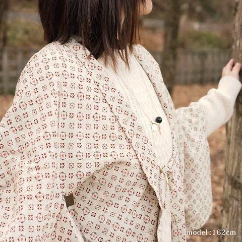 Milky white haori with modern cute red pattern,Japanese kimono,womens haori