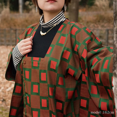 Red green long coat Michiyuki,Japanese vintage kimono,womens haori