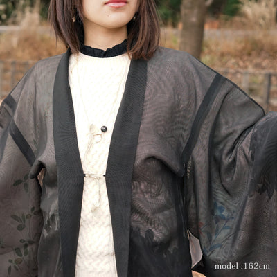 See-through black haori with flowerplants design,Japanese vintage kimono,womens haori kimetsu no yaiba samurai