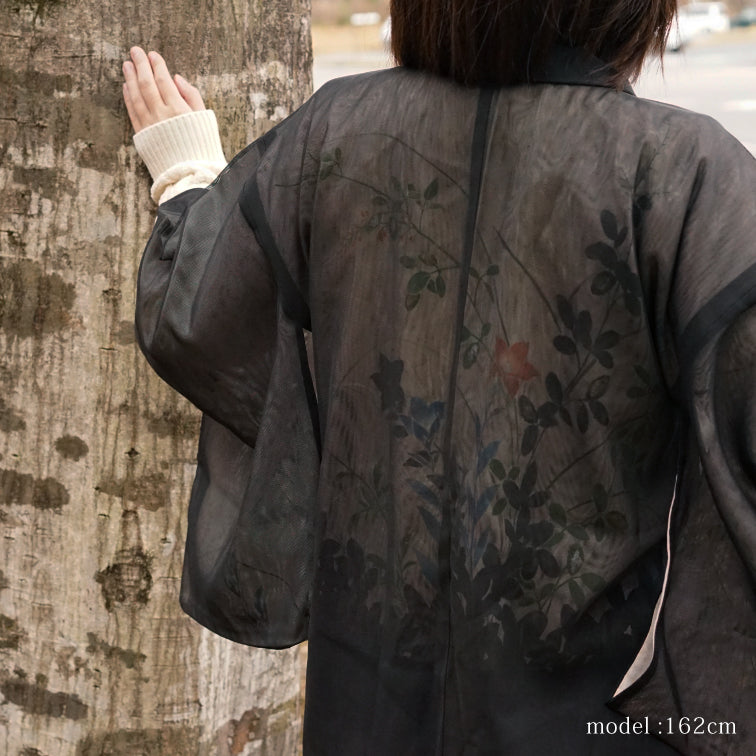 See-through black haori with flowerplants design