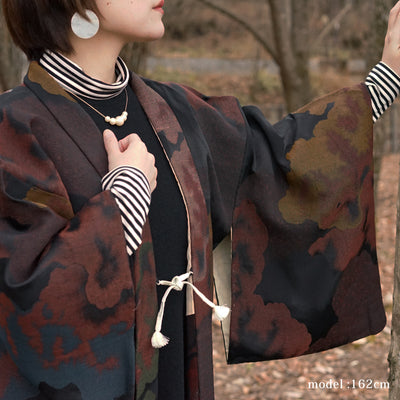 Brown modern pattern design haori,Japanese vintage kimono,womens haori